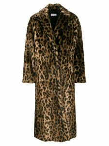 Red Valentino RED(V) leopard print open front coat - Brown