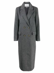 Ganni checkered double-breasted coat - Grey