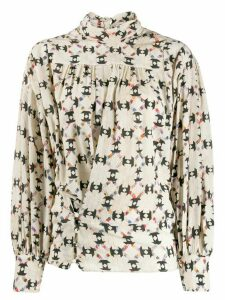 Isabel Marant cowl neck geometric print blouse - Neutrals