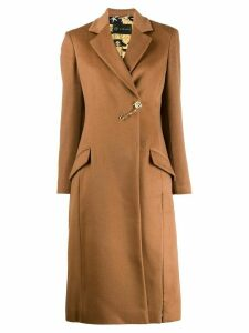 Versace brooch detail textured coat - Brown