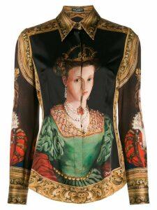 Dolce & Gabbana Queen print long sleeve shirt - Brown