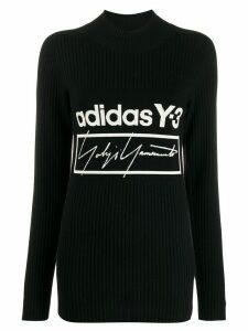 Y-3 logo ribbed-knit jumper - Black