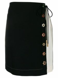 Tory Burch colour block wrap skirt - Black