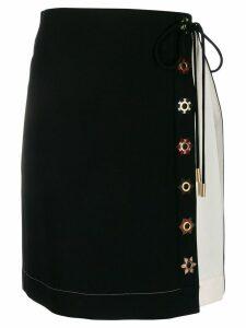 Tory Burch colour block wrap skirt - Black