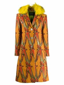 Versace logo embroidered trimmed coat - Orange