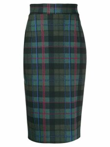 Le Petite Robe Di Chiara Boni lumiprint tartan pencil skirt - Green