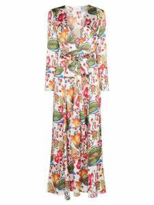 We Are Leone floral print robe dress - White