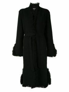 Giorgio Armani fringe trimmed coat - Black