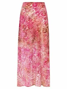 Collina Strada tie-dyed burnout midi skirt - Pink