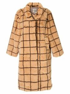 Baum Und Pferdgarten Demetria checked faux fur coat - Brown