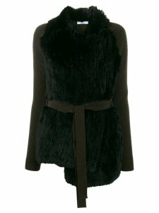 Blumarine shearling wrapped cardi-coat - Black