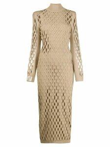 Fendi long-sleeved fitted mesh dress - Neutrals