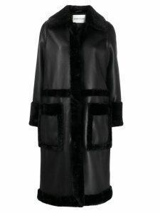 STAND STUDIO Riley faux-fur trimmed coat - Black