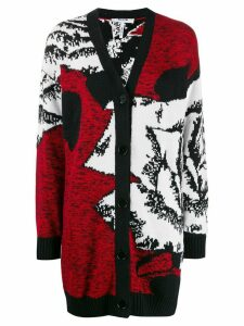 MSGM oversized abstract-pattern cardigan - Red