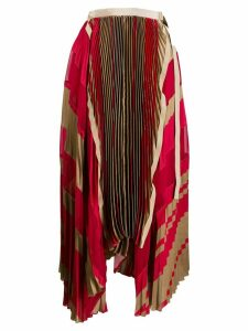 Sacai pleated striped midi skirt - Red