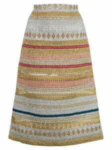 Molly Goddard metallic striped midi skirt - SILVER