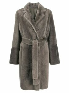 Yves Salomon mid-length textured coat - Grey