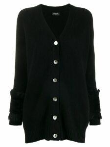 Simonetta Ravizza fur trimmed cardigan - Black