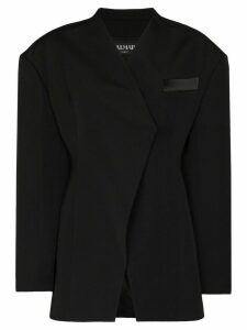 Balmain exaggerated shoulder wrap blazer - Black