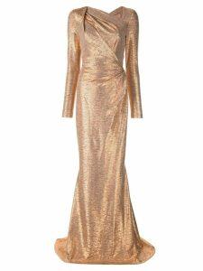 Talbot Runhof metallic slash neck gown - Gold