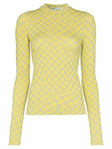 Off-White checkerboard print top - Yellow