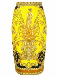 Versace baroque print skirt - Yellow