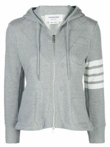 Thom Browne zip-front fitted hoodie - Grey