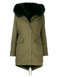 Philipp Plein logo crystal parka coat - Green
