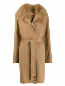 Yves Salomon fur collar coat - Brown