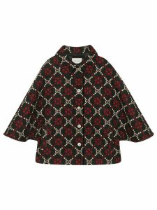 Gucci GG diamond wool cape coat - Black