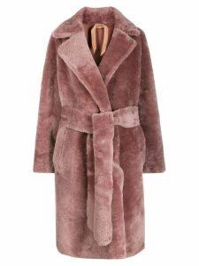 Nº21 shearling belted coat - Pink