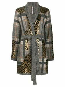 Antonio Marras geometric pattern cardi-coat - Grey