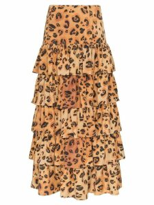 Mara Hoffman Marzia tiered ruffle midi skirt - Brown