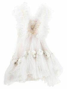Loulou floral appliqué dress - NEUTRALS