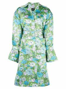 Richard Quinn floral-print belted flared dress - Blue