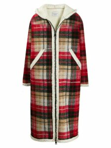 Forte Dei Marmi Couture Teddy hooded tartan coat - Red
