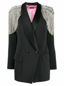 Elisabetta Franchi rhinestone-fringed embellished blazer - Black
