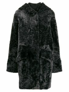 Drome shearling drawstring coat - Black