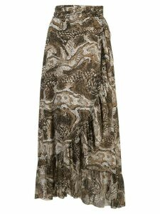 Ganni marbled snake-effect wrap skirt - Brown
