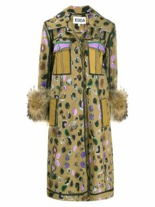 EDDA Johanne abstract print coat - Brown