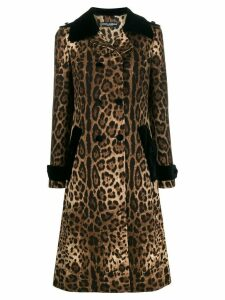 Dolce & Gabbana leopard print trench coat - Brown