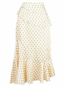 Alexa Chung Ossie tiered floral skirt - White