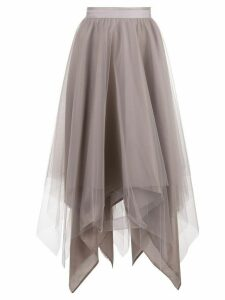 Marc Le Bihan asymmetric hem silk skirt - Grey