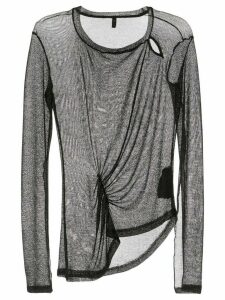 Unravel Project asymmetric ruched mesh top - Black