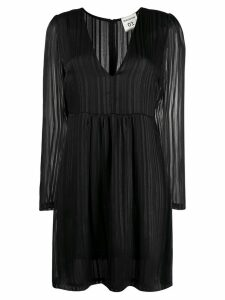 Semicouture striped long-sleeved dress - Black