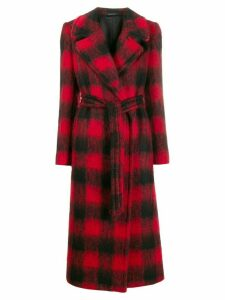 Tagliatore Molly checked belted coat - Red