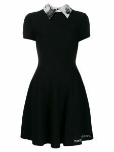 Valentino graphic collar dress - Black