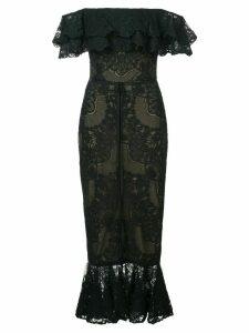 Marchesa Notte off shoulder fitted dress - Black