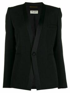 Saint Laurent satin-trimmed lapelless tuxedo blazer - Black