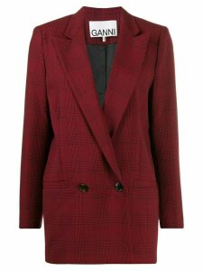 Ganni Suiting checked blazer - Red